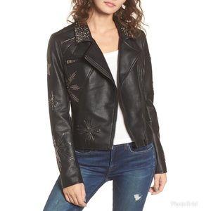 Embellished Faux Leather Star Struck Moto Jacket